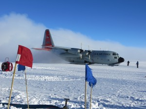 C-130 lands at the South Pole, Nov. 1, 2012.