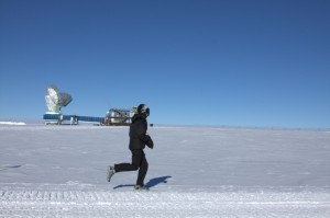Keith, with the South Pole Telescope in the background.