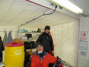 Keith and Ryan in the warming hut at ARA.