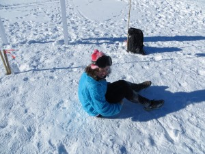 Sarah rests her legs after completing the South Pole Marathon in third place overall (she was the first and only female in the race).
