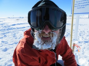 Ryan flashes a frosty smile after completing the South Pole Marathon.