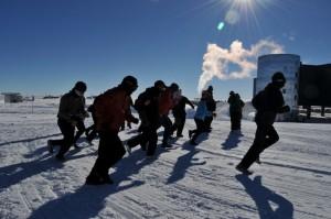 Runners begin the South Pole Marathon.