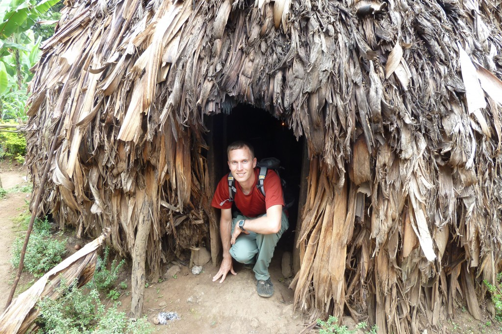 Traditional Chagga hut--this one was 200 years old!  (The thatch roof is replaced regularly.)