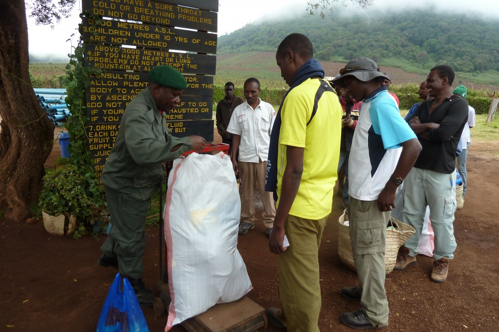 The porters' packs are weighed at the park entrance.