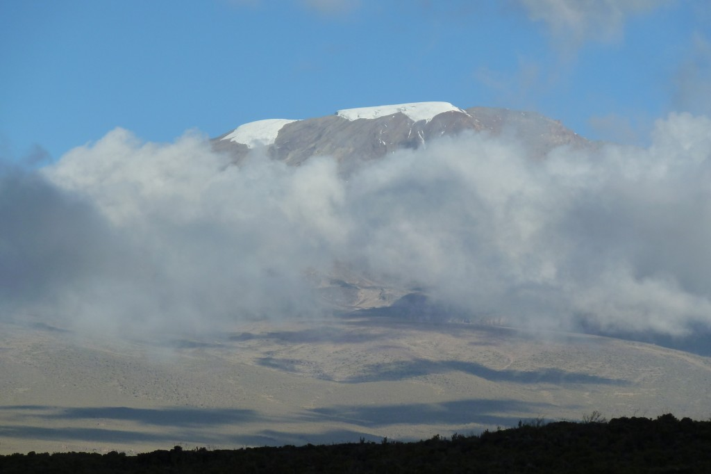 Our first glimpse of Kilimanjaro's summit.