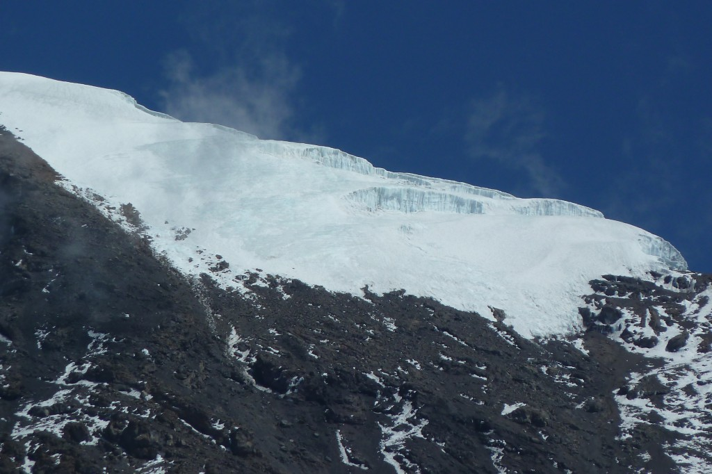 View of a glacier near the summit.