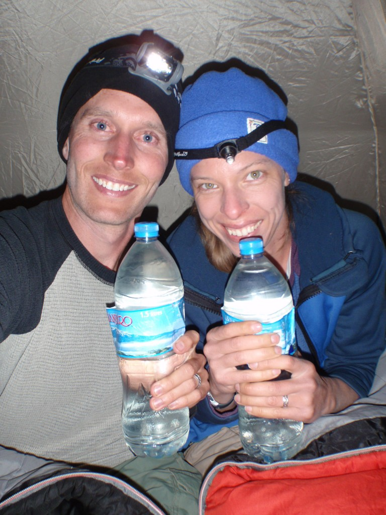 Warm bottles for our sleeping bags--and drinking water for tomorrow!