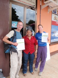 Gladys presents us with our certificates for reaching the summit.