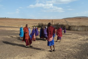 Maasai people and their village.