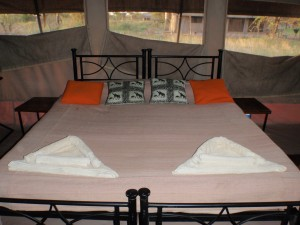 The bed in our luxury tent.