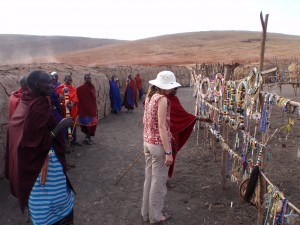 Market in the center of the Maasai village.