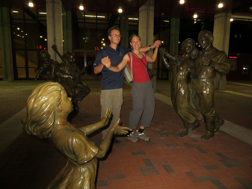Dancing with the statues.