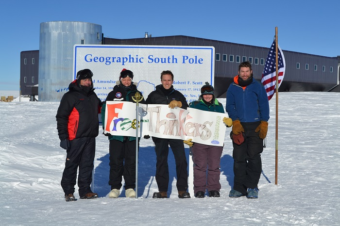 The South Pole Freethinkers brave enough to stand in the cold and squint into the sun.