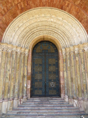 A door on one of Cuenca's many beautiful buildings.