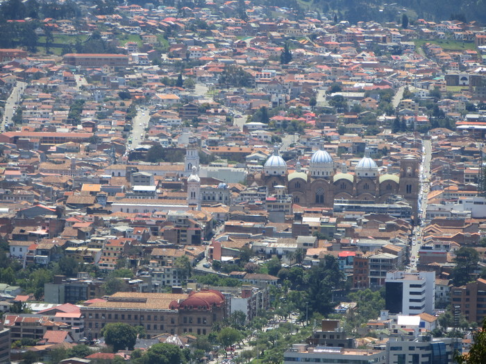 Looking into downtown Cuenca from the hills.