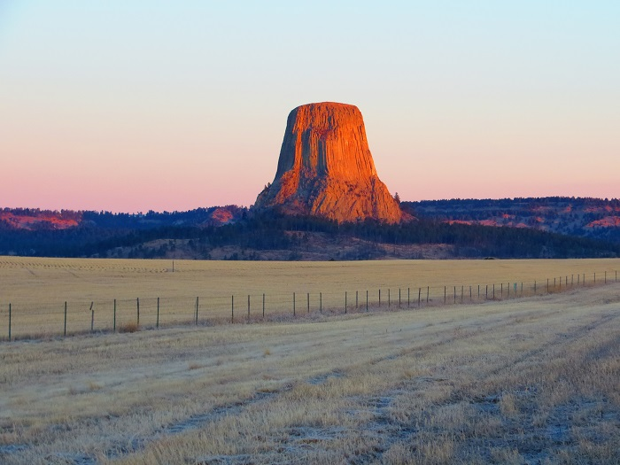 Our view of Devils Tower from our RV Park. Sunrise.