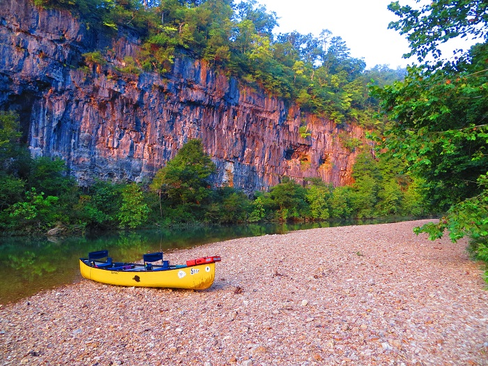 Our rented canoe on the banks of Jack's Fork River in the Ozarks of Missouri.