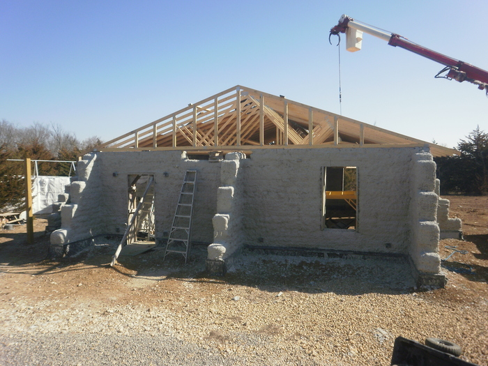 Roof on earthbag house