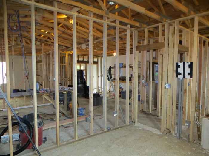 Interior walls of earthbag house